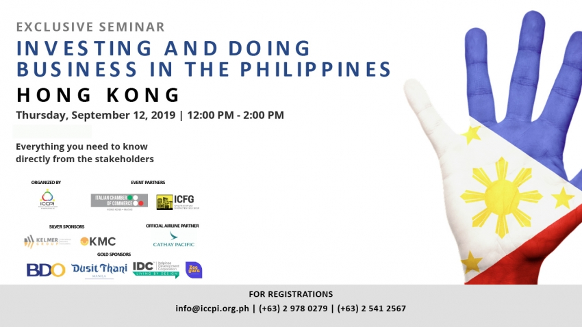 Investing and Doing Business in The Philippines - September 12, 2019 Hong Kong